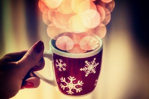 Winter cup with bokeh