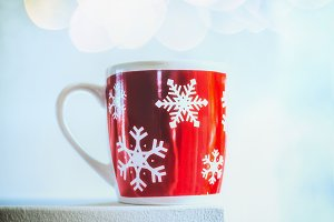 Winter mug with snowflakes