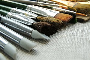 Artistic brushes and tools.