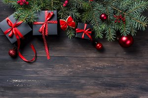 Black and red Christmas background