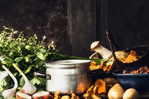 Mushrooms cooking preparation