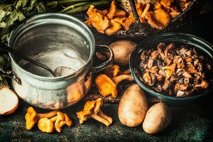 Mushrooms and cooking pot