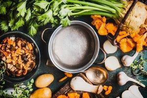 Mushrooms soup ingredients