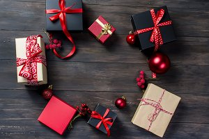 Black and red christmas gifts