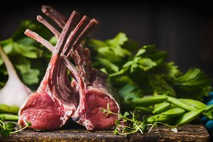 Raw racks of lamb with herbs