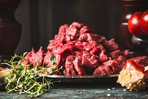 Raw diced meat for stew