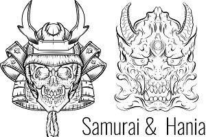 Samurai and Hania Vector Tattoo