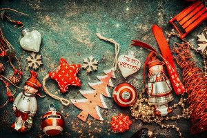 Red Christmas vintage decoration