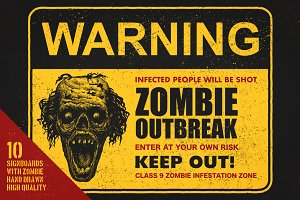 Sign board with zombie. Vector set