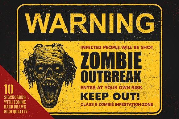 Sign board with zombie. Vector set in Graphics