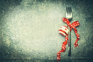Fork with Christmas ribbon