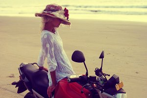 Girl, beach, motorcycle, sea