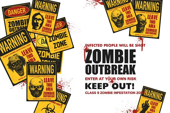 Sign board with zombie. Vector set in Graphics - product preview 1