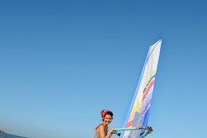 Girl in windsurfing school