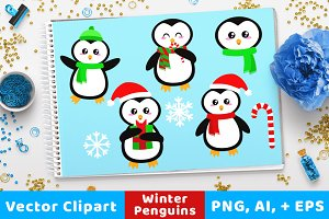 Holiday Penguins Clipart, Christmas