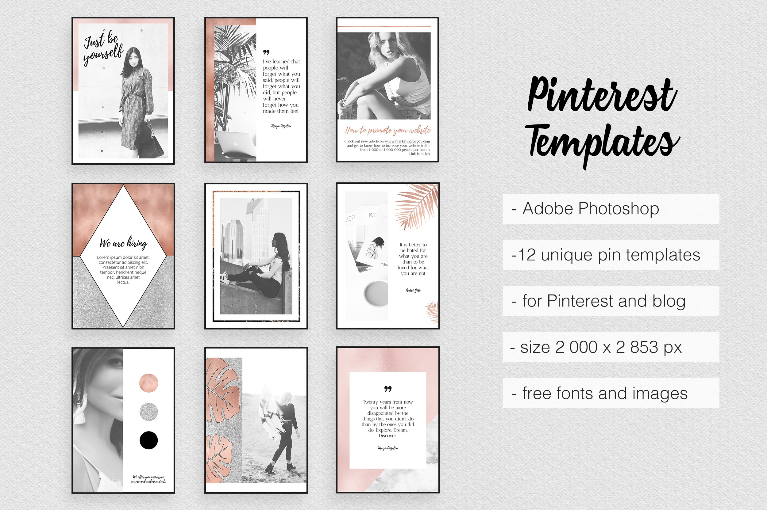 Pinterest Templates Rose Gold Pinterest Templates Creative Market