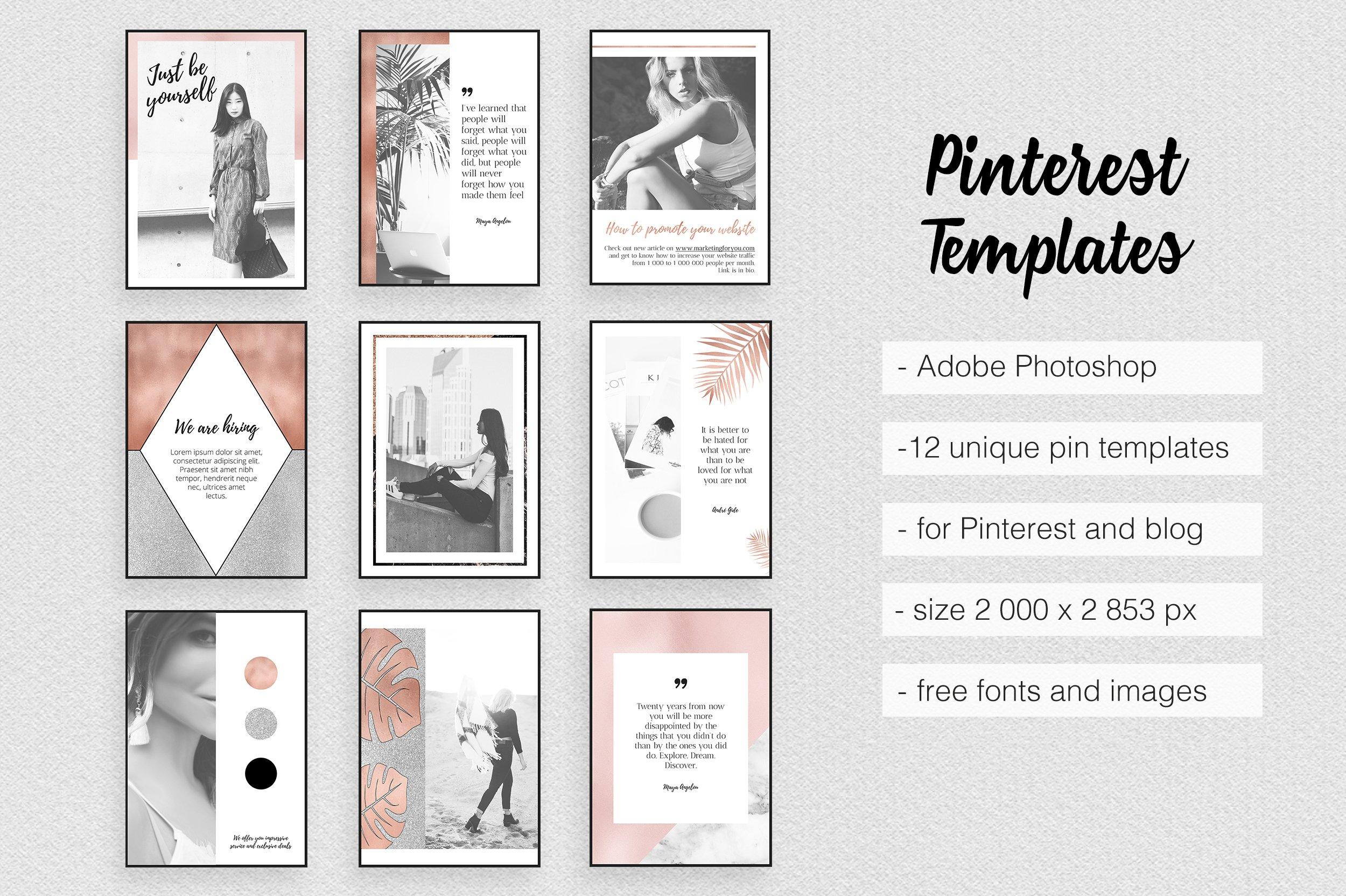 pinterest templates rose gold pinterest templates creative market