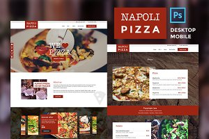 Pizza restaurant website PSDs