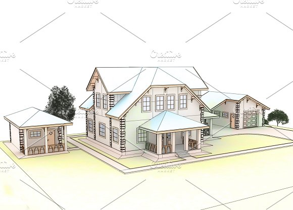 Render 3D Cottage With A Blue Roof