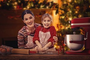 Digital Backdrop Christmas Baking