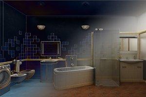 3D rendering of a modern bathroom interior design