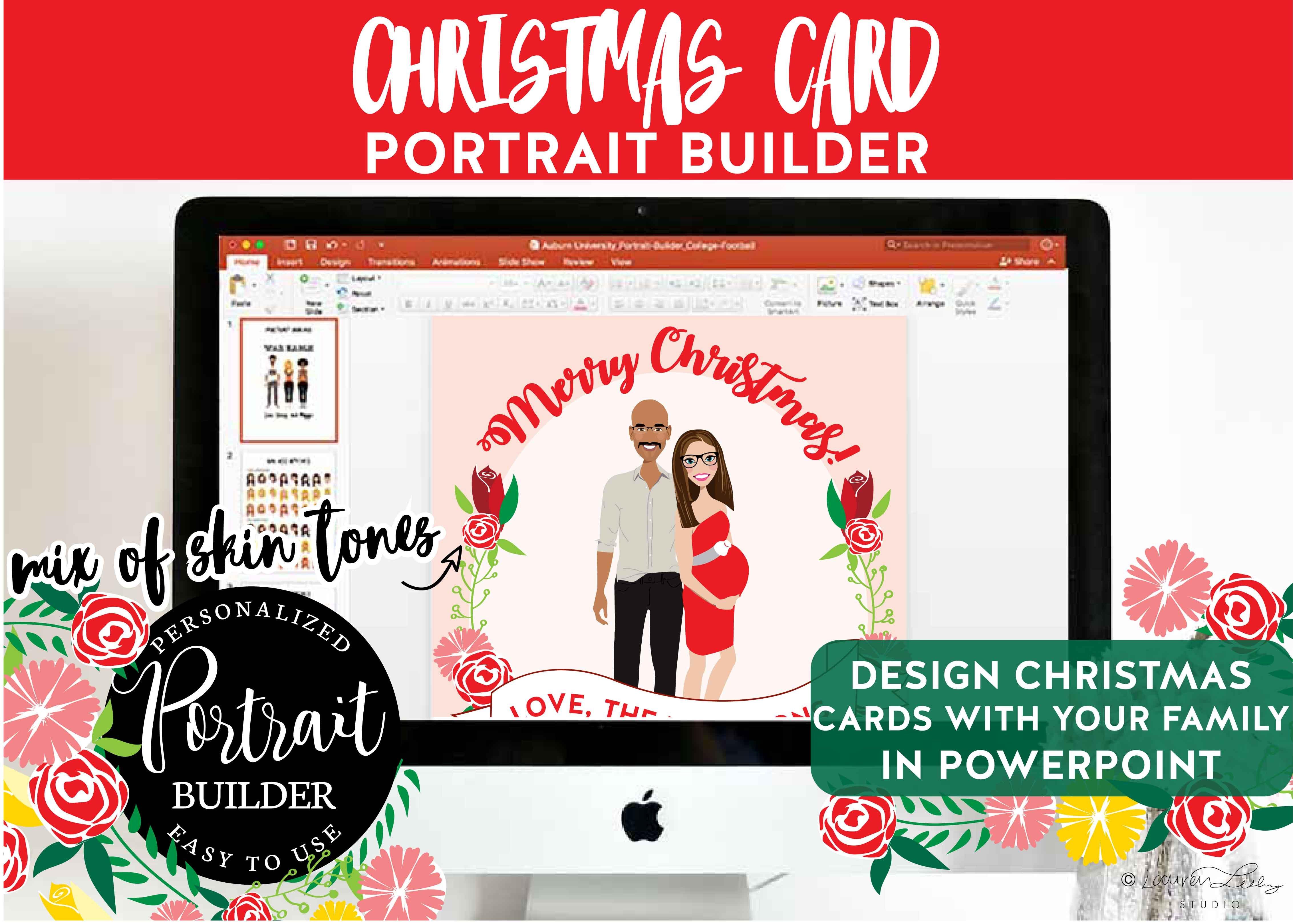 Christmas Portrait | Pregnant Couple ~ Illustrations ~ Creative Market