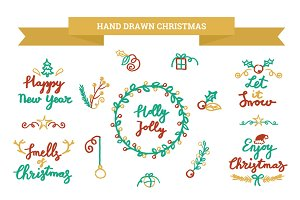 Hand drawn Christmas greetings