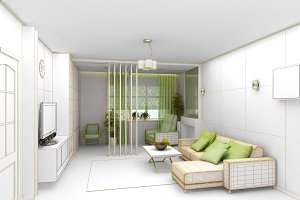 rendering  3D of white living room interior