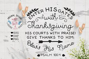 Bless his name Thanksgiving Cut File