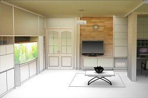 rendering  3D of white living room interior
