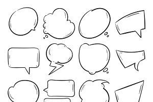 Doodle blank speech bubbles set