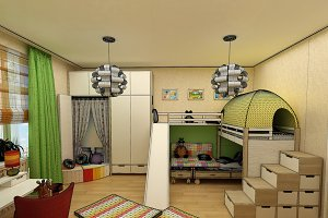rendering - children room with two beds
