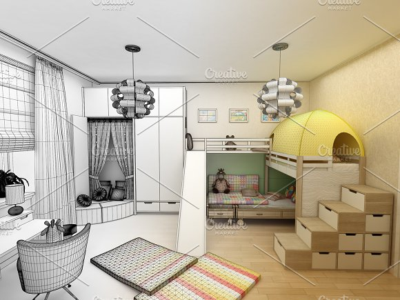 Rendering Children Room With Two Beds