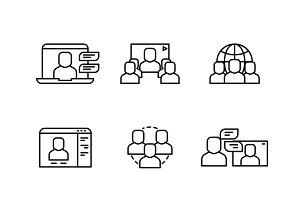 Business structure thin line icons