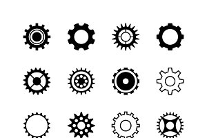 Gear mechanic machine icons set