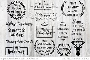 220 Christmas Overlays, vector set