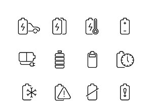 Rechargeable battery thin line icons