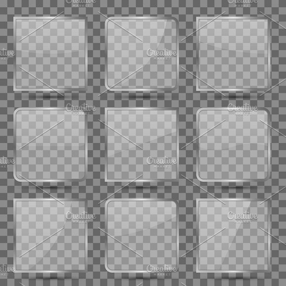 Glossy Glass Square Vector Buttons