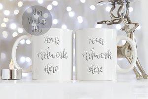 Two Mug Mockup - Silver Christmas