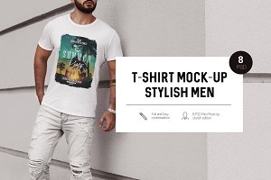T-Shirt Mock-Up Stylish Men