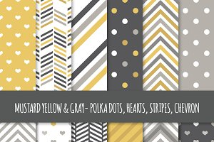 Mustard & Gray Seamless Patterns
