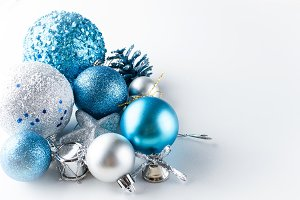 Blue and silver christmas ball