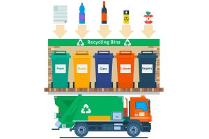 Waste management concept illustration.Recycling garbage elements trash bags tires management industry utilize.Refuse truck.Vector illustration