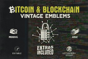 Bitcoin & Blockchain Vintage Emblems