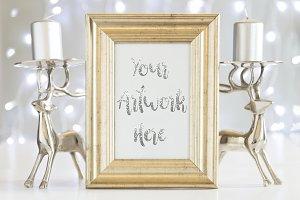 Gold Frame Mockup - Silver Christmas