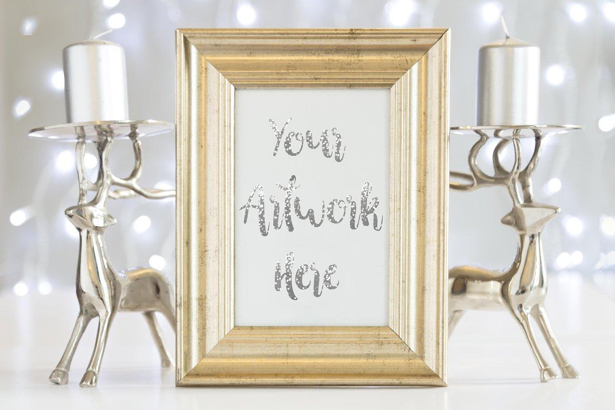 308137404235 Gold Frame Mockup - Silver Christmas ~ Print Mockups ~ Creative Market