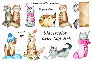Watercolor Cats Clipart