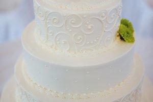 Green and White Round Wedding Cake