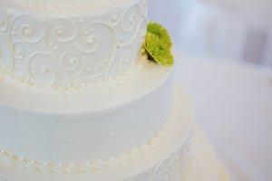 White Floral Layered Wedding Cake