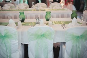 Green & White Wedding Reception